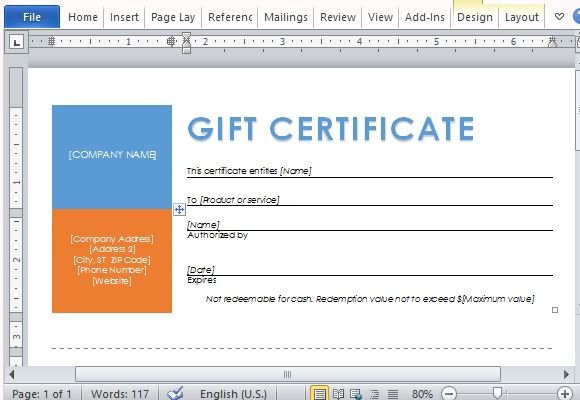 Printable gift certificates template for word for Business gift certificate template