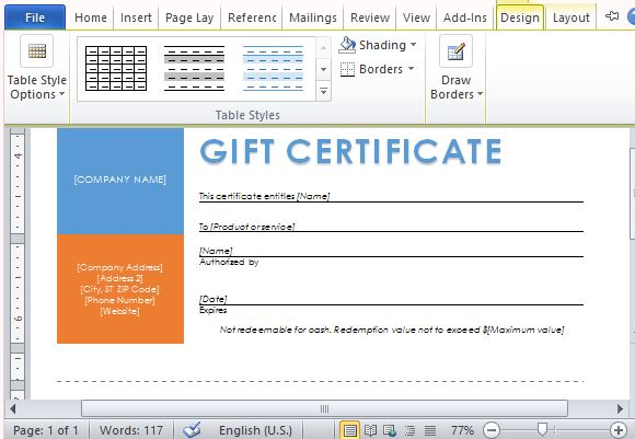 Printable gift certificates template for word choose from the many design options to customize your template yadclub Images