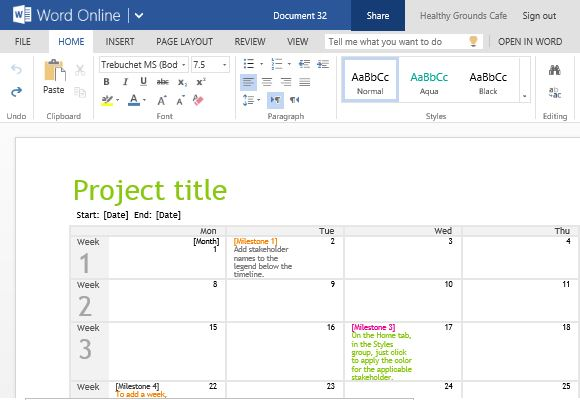 Project Planning Timeline Calendar For Word Online - Task timeline template