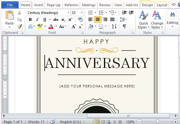 How to create a printable anniversary gift certificate create an elegant anniversary gift certificate note card in minutes yadclub Images