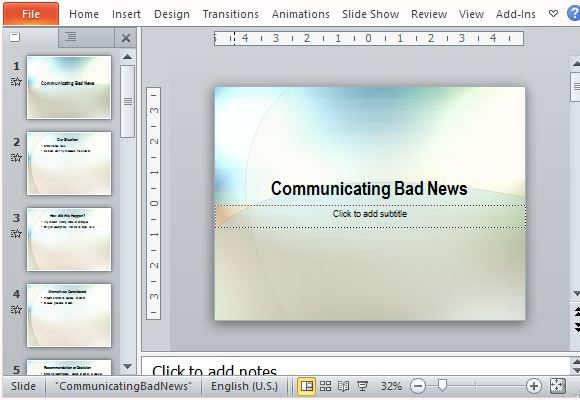 presentation of bad news powerpoint template, Modern powerpoint