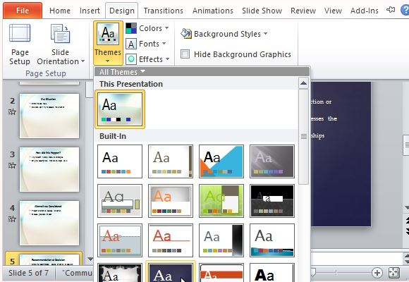 Easily Change Themes and Designs to Further Customize Your Presentation