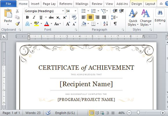 Certificate Of Achievement Template For Word 2013