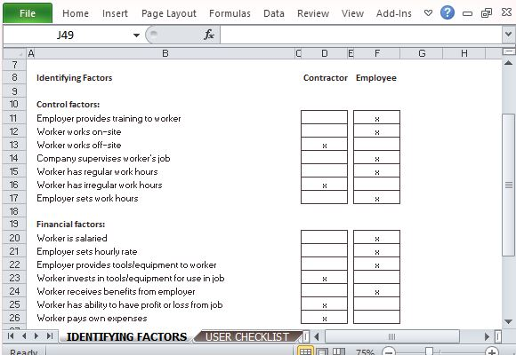 employee or independent contractor checklist for excel