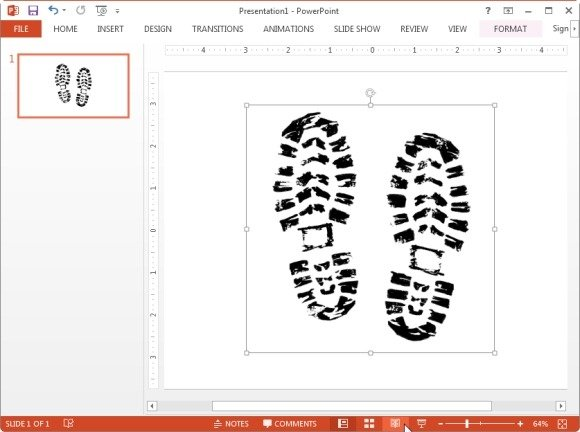 Pair boot prints static clipart