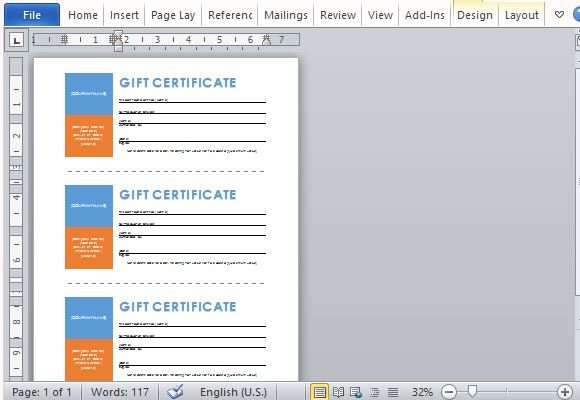 Printable Gift Certificates Template For Word - Gift certificate template add logo