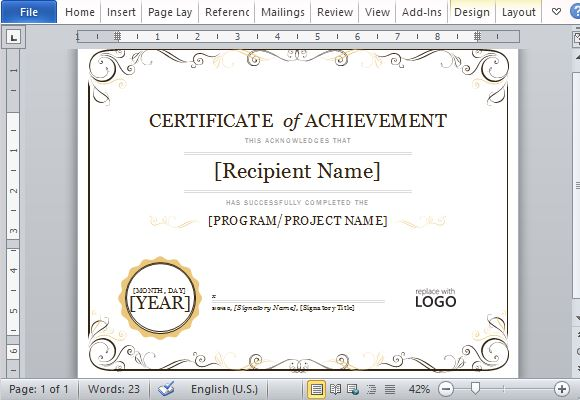 Good Free PowerPoint Templates Idea Certificate Of Achievement Template Word