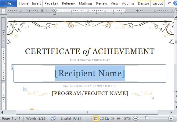 Certificate of achievement template for word 2013 simply change the placeholders to customize with your own information the certificate template yadclub Images
