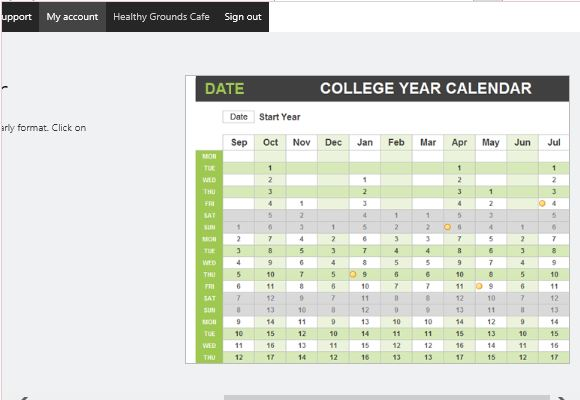 User-Friendly and Convenient College Year Calendar