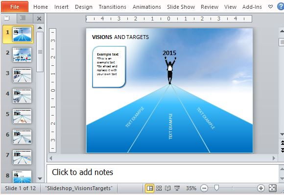 Visions and targets template for powerpoint visions and targets template for achieving business goals toneelgroepblik Choice Image