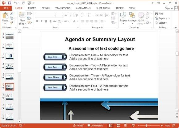 arrow agenda summary layout