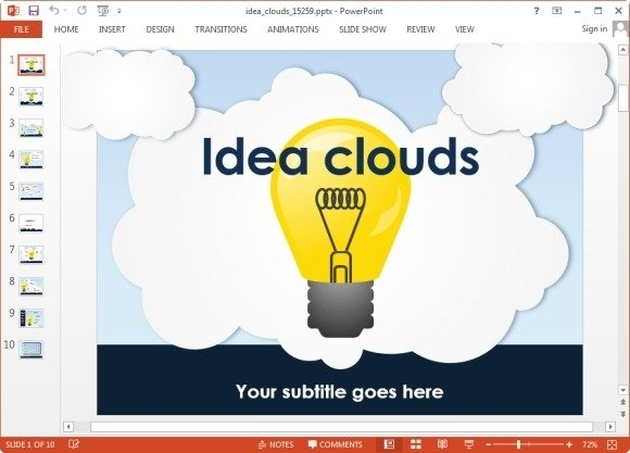 Animated Idea Clouds Powerpoint Template