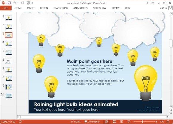 Animated idea clouds powerpoint template raining ideas animation toneelgroepblik Image collections