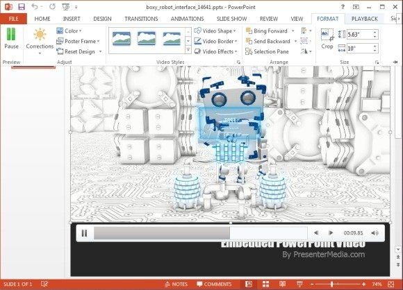 Animated digital robot template for powerpoint robot video background toneelgroepblik Images