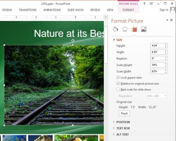 Advanced picture rotation options in PowerPoint