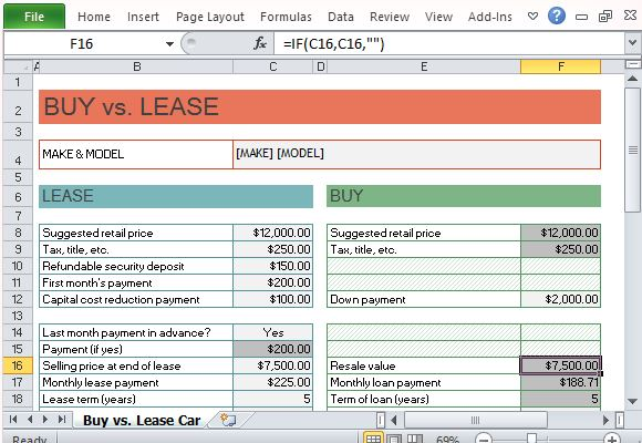 Car Lease Versus Buy Spreadsheet