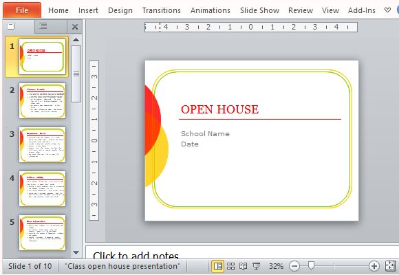 Classroom Open House Powerpoint Template