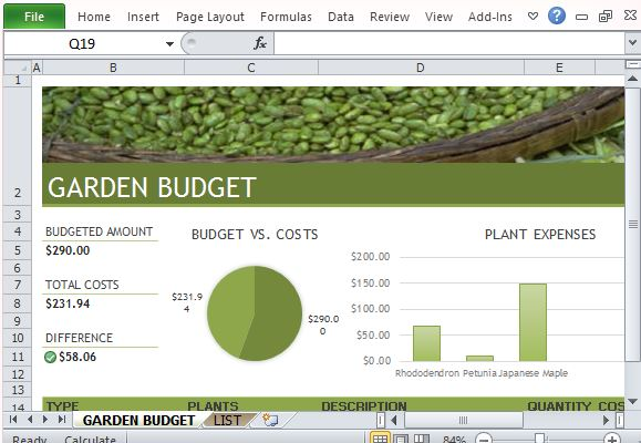 budget for garden and landscaping template for excel