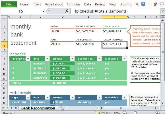Bank Reconciliation Template For Excel