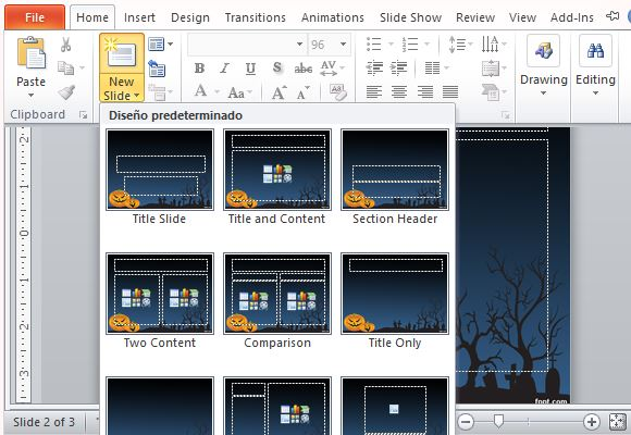 choose from various layout options for your presentation