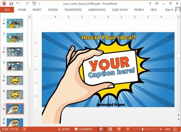 Animated comic template for powerpoint presentations comic frame slide toneelgroepblik Image collections