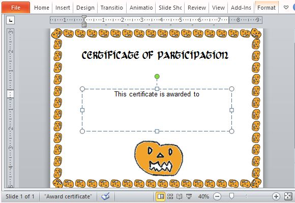Halloween Award Certificate Template For Powerpoint