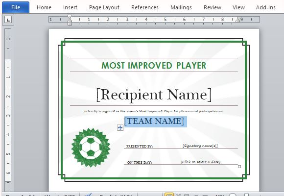 Printable sports certificate template for word for Certificate of participation template ppt