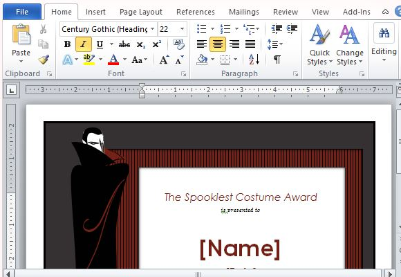 halloween costume award templates for word