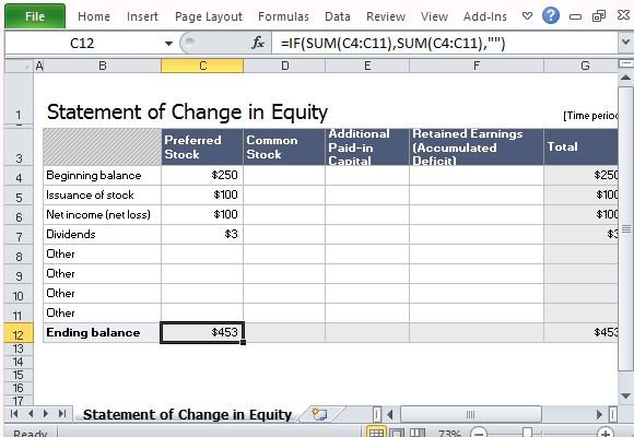 Statement of change in equity template for excel make use of built in formula to get accurate results maxwellsz