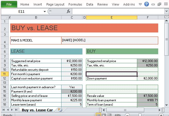 Car Lease Calculator >> Car Buy Vs Lease Calculator For Excel