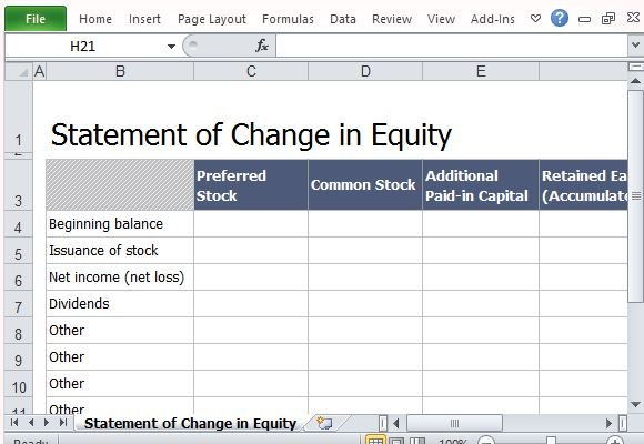 Professional Looking Statement of Change in Equity