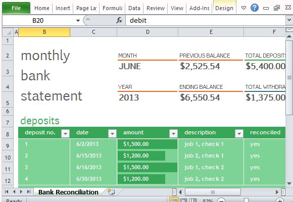 Free PowerPoint Templates  Bank Statement Reconciliation Form