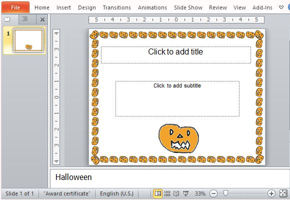 Halloween award certificate template for powerpoint pumpkin jack o lantern design yadclub