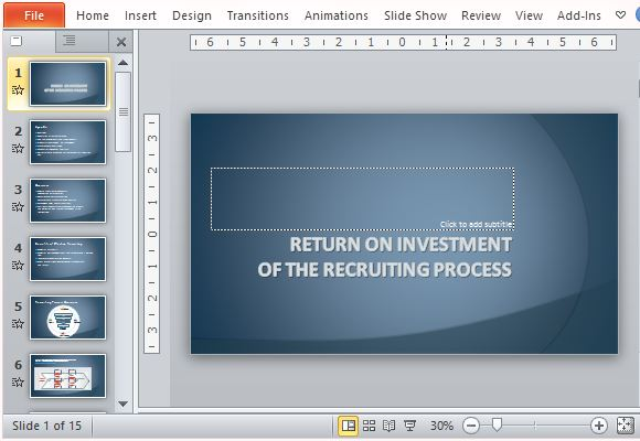 recruiting process return on investment template for powerpoint, Presentation templates