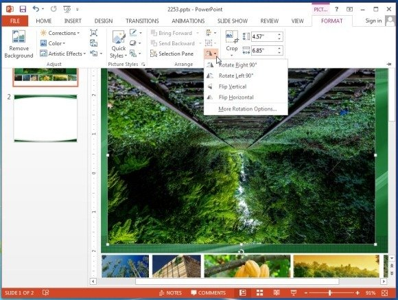 Rotate picture in PowerPoint 2013
