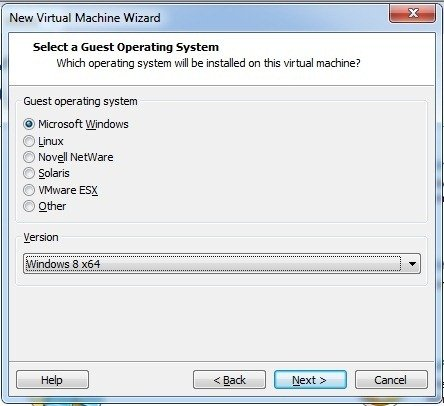 Select OS in VMware
