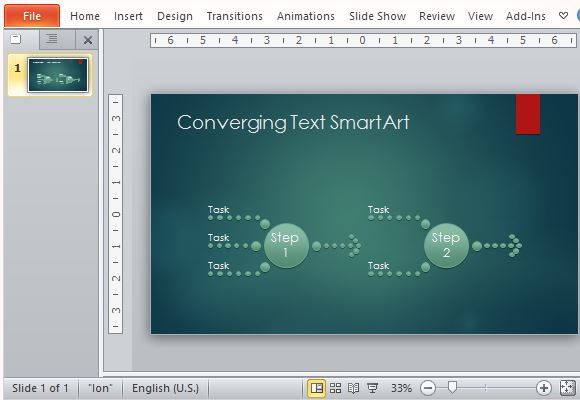 Process Diagram Template For Powerpoint With Converging Text
