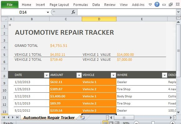 Car Repair Tracker Template For Excel