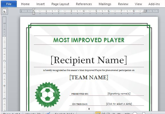Sports Certificate To Recognize Athleticism And Sportsmanship  Award Certificate Template For Word