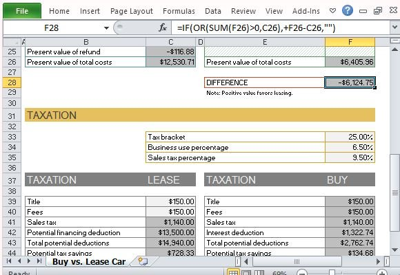 car buy vs lease calculator for excel. Black Bedroom Furniture Sets. Home Design Ideas