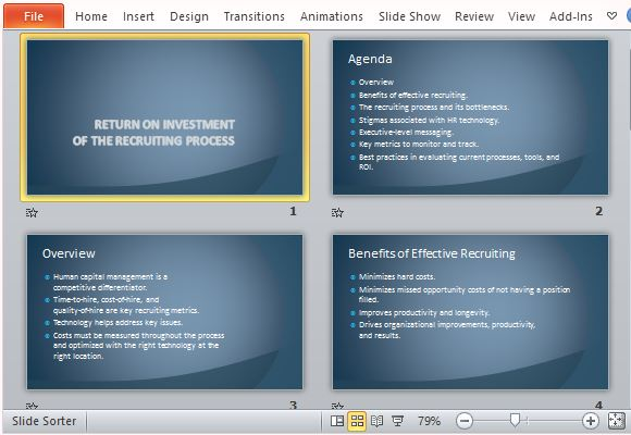 recruiting process return on investment template for powerpoint, Executive Level Presentation Template, Presentation templates