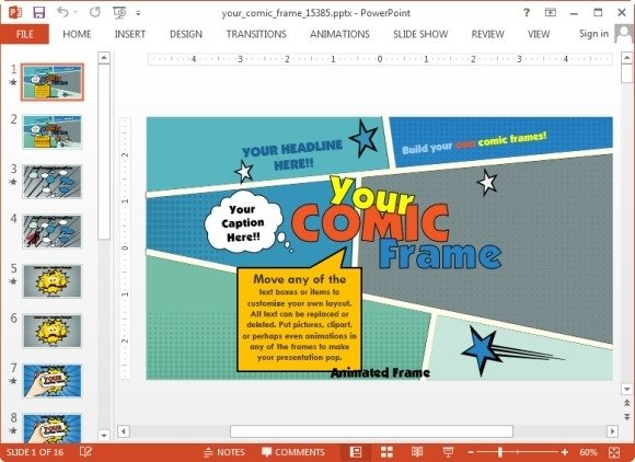 Animated comic template for powerpoint presentations your comic frame powerpoint template toneelgroepblik Image collections