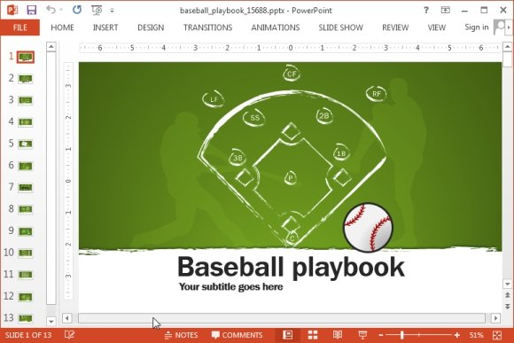 Animated baseball playbook PowerPoint template