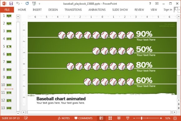 animated baseball playbook powerpoint template, Powerpoint templates