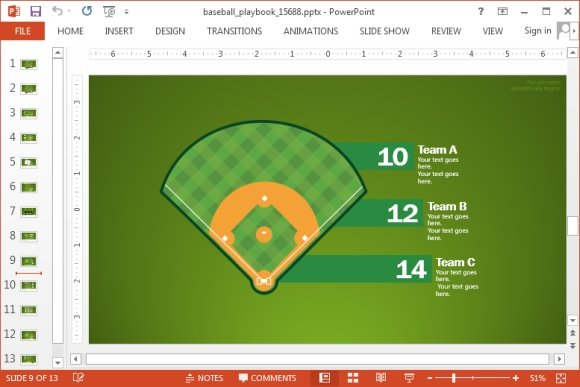 Animated baseball playbook powerpoint template the chart slides in this animated baseball template come with different types of layouts you can represent the information easily by rearranging the given toneelgroepblik Gallery