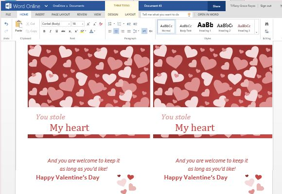 Valentine cards maker template for word online classic and elegant valentines day greeting card template for word online m4hsunfo