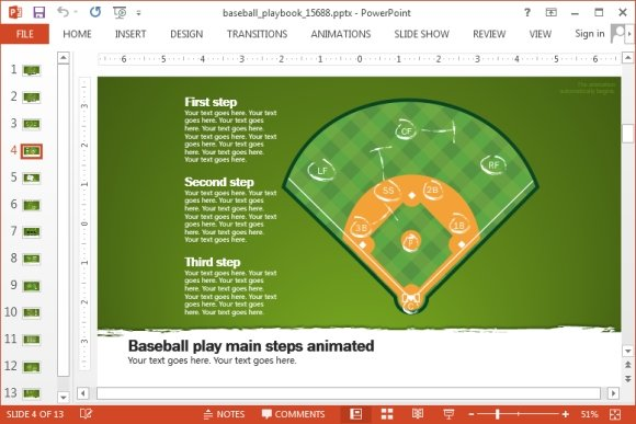 animated baseball playbook powerpoint template. Black Bedroom Furniture Sets. Home Design Ideas