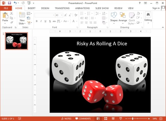 Example of dice clipart used in a slide