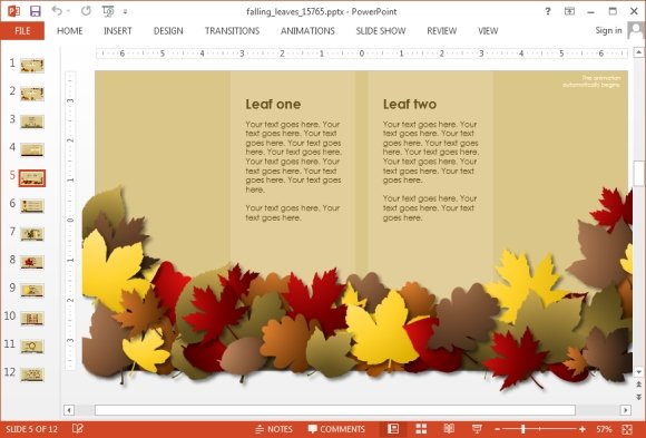 Animated falling leaves powerpoint template falling leaves comparison slide toneelgroepblik Gallery