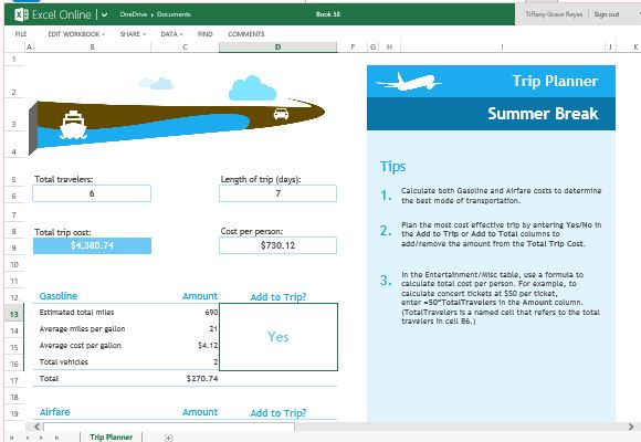 Trip planner template for excel online have a beautiful trip planner for business or personal use flashek Gallery